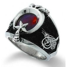 Ayyıldız Penceli Gümüş Erkek Yüzüğü